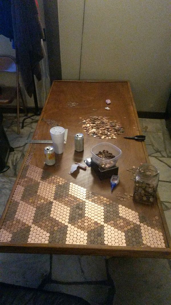 penny table top - i want to do this with all of my smashed pennies one day