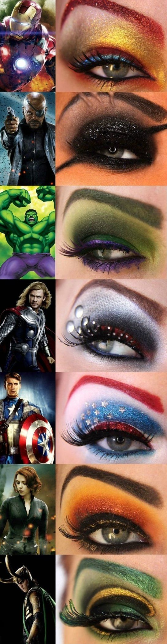 How better could this..... Your favorite avengers through eye makeup