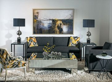 Amarelo e cinza escuro -Tailored Suite eclectic living room