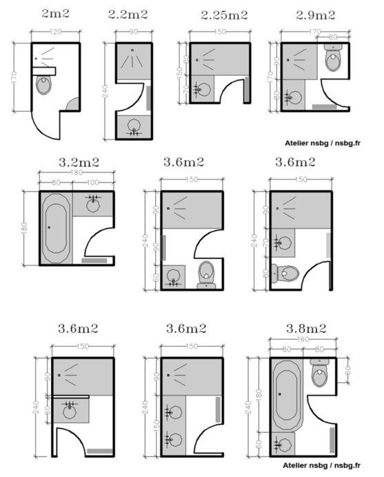 Salle de bain 3m2 am nagement petits espaces pinterest - Petite salle de bain plan ...