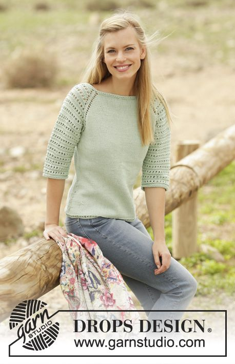 Petronella jumper with raglan sleeves and lace pattern worked top down by DROPS Design Free Knitting Pattern