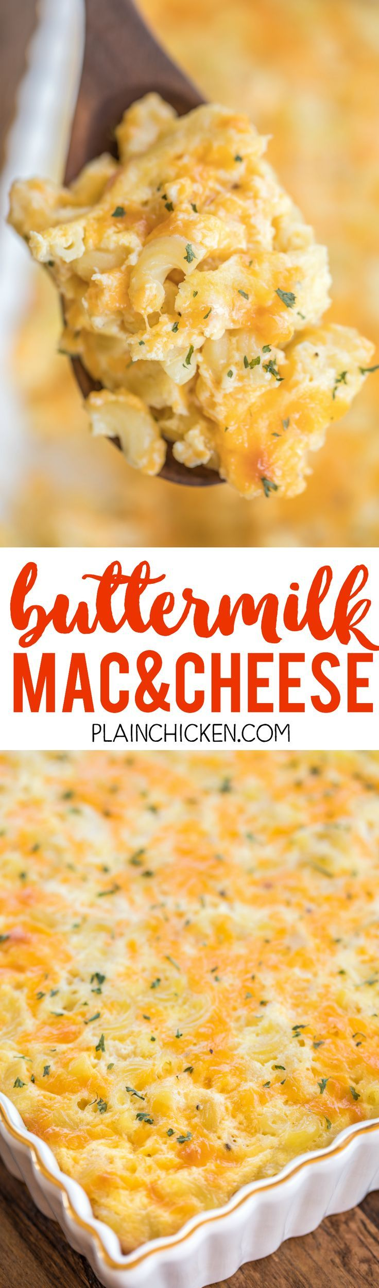 Buttermilk Mac and Cheese - CRAZY good!!! Only 5 ingredients! I wasn't sure how I would like the buttermilk, but it was SO good! Eggs, cheddar cheese, buttermilk, butter, macaroni. Can make ahead and freezer for later. Everyone RAVES about this yummy side