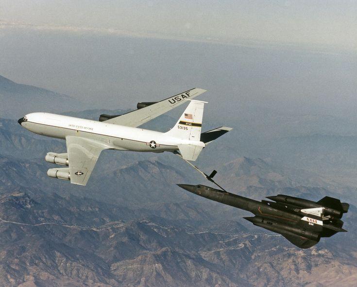 The NASA SR-71 Blackbird being Refueled by a KC-135 Tanker