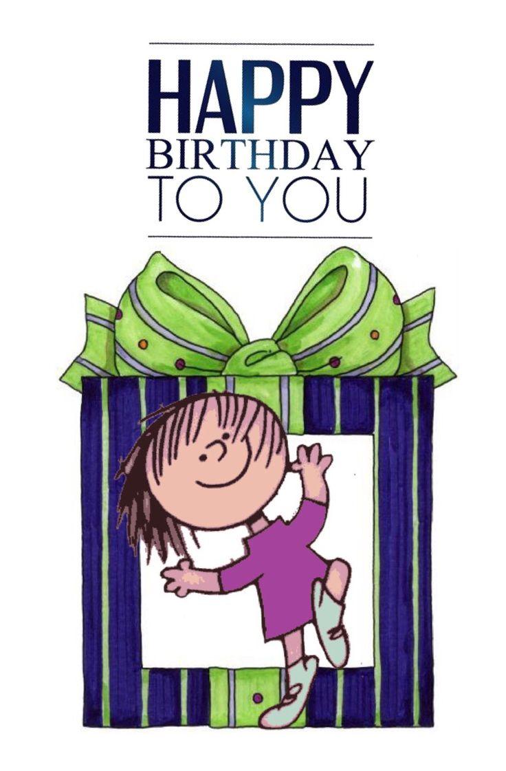 Happy birthday to you, niña saliendo de caja de regalo