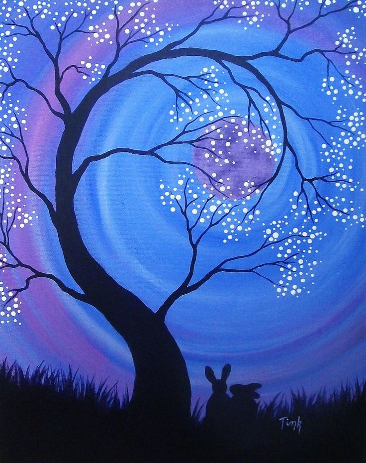 Easy Moon Acrylic Paintings Night Blossoms By Kattink On