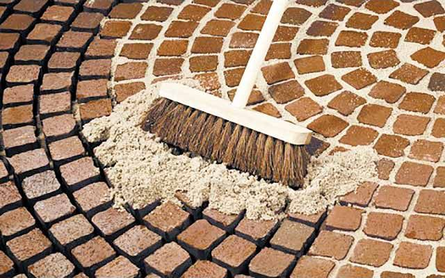Geo-Fix dry brush-in paving jointing compound available from Arcon Supplies
