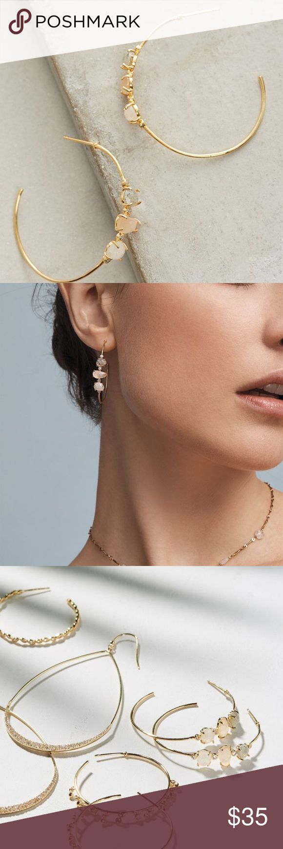 """Anthropologie earrings. Sweet birthday present, but I know I'll never wear them.  Hoop earrings with post closure. Measures 1.5"""".  12 karat gold plated metal with tricolor glass gems. Anthropologie Jewelry Earrings"""