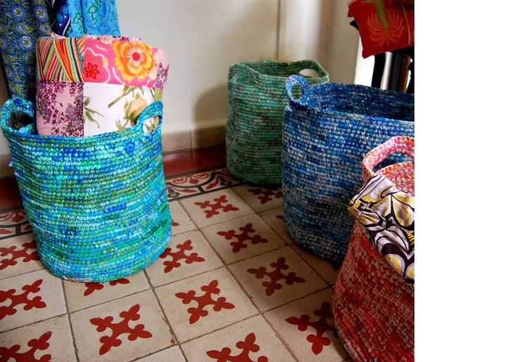 love the colors of these recycled plastic bag laundry baskets!