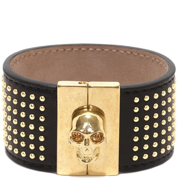 ALEXANDER MCQUEEN|Jewelry|Studded Leather Skull Bangle