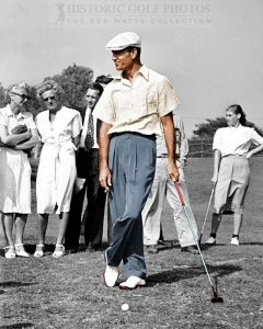 """""""Colorized"""" - Ben Hogan leaning on his club at Hillcrest - 1946. Photo"""