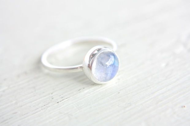 Moonstone Ring Sterling Silver Stacking Ring Stacker Silversmithed Metalsmithed on Wanelo