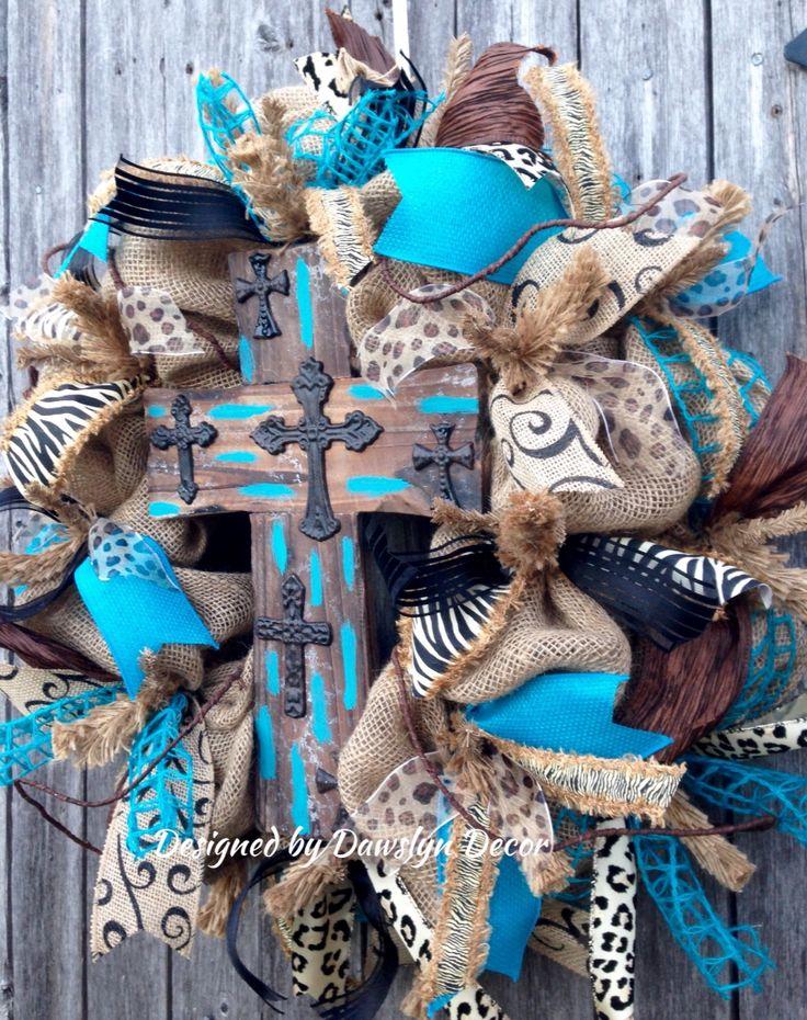 Animal Print Turquoise Cross Burlap Wreath by Dawslyn Decor on Facebook & Etsy