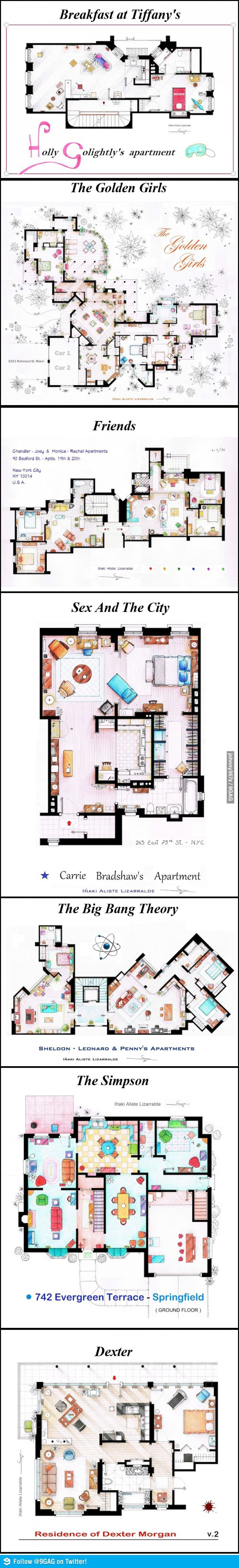 Floor plans of popular TV and film homes.