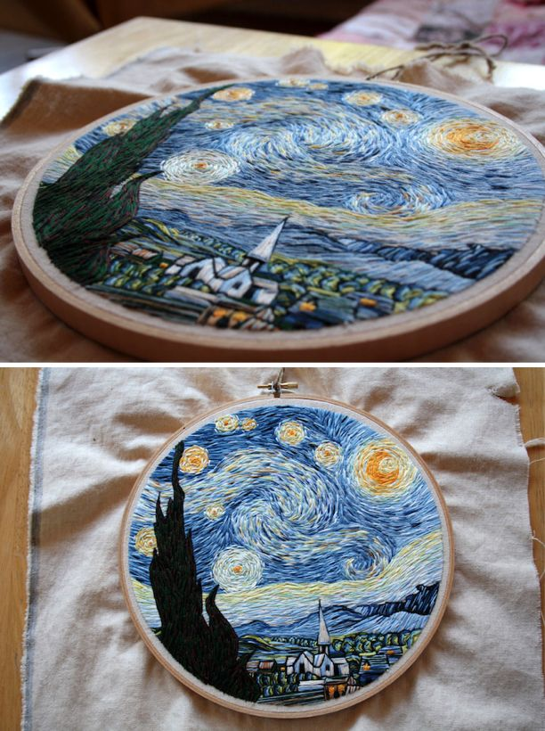 Van Gogh's The Starry Night embroidered. What amazing detail! #embroidery #art