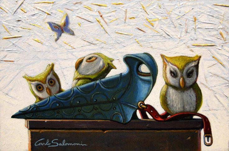 Artique | PLAGUE DOCTOR OWLS - 2015 - Acrylics on board, Ready to hang, framed (9,1 x 13,1 x 0,6 i) | Carlo Salomoni>>> www.carlosalomoni.com