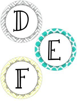 YELLOW, GRAY, AND TEAL CHEVRON AND QUATREFOIL WORD WALL LABELS - TeachersPayTeachers.com