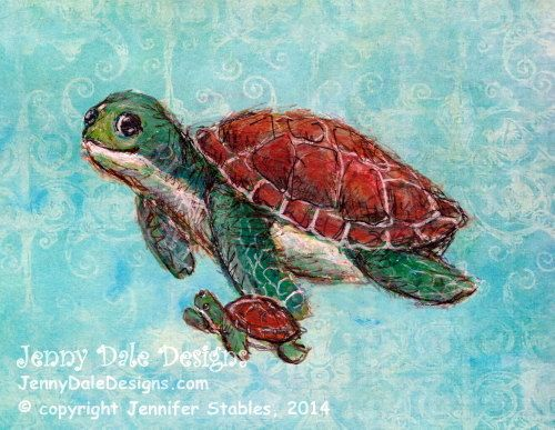 Baby Sea Turtle Sea Turtle Nursery Art Art by JennyDaleDesigns, $23.00