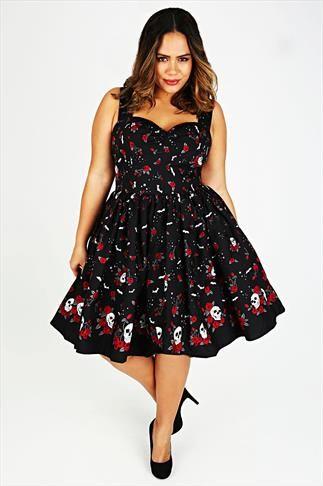 HELL BUNNY Black & Red Rose & Skull Print Vintage Dress