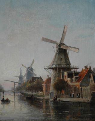 Cornelis Christiaan Dommelshuizen (Utrecht 1842-1928 Den Haag) Windmill 'De Rozenboom' near the Overtoom, Amsterdam - Dutch Art Gallery Simonis and Buunk Ede, Netherlands.