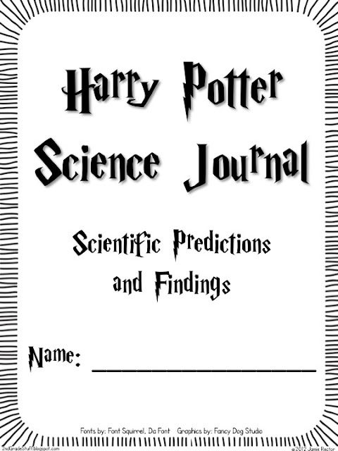 Harry Potter Science Journal - use with pop rocks experiment
