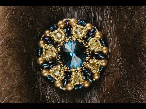 Брошь-пуговица из риволи и кристаллов. (Часть 1/3) - YouTube