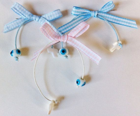 "Bow Style Witness Bracelets with a ""Mataki"", $25.00 at the Greek Wedding Shop ~ http://www.greekweddingshop.com/"