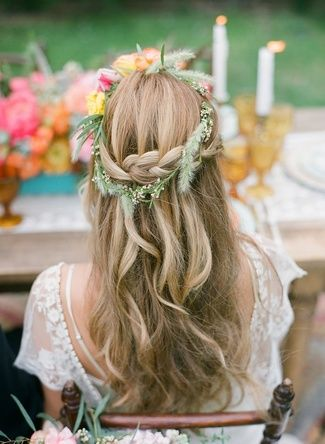 20 Floral Bridal Crowns & Flower Wreaths {Trendy Tuesday} | Confetti Daydreams - Subtle floral wreath adorning a bohemian braided hairstyle ♥ ♥ ♥ LIKE US ON FB: www.facebook.com/confettidaydreams ♥ ♥ ♥ #Wedding #FlowerCrowns #FlowerWreaths