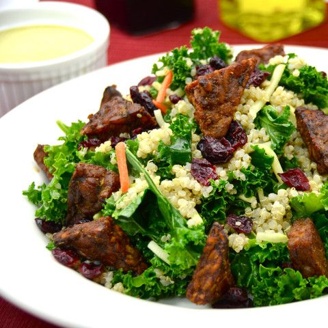This combination of quinoa and kale makes for a deliciously satisfying meal. Topped with the savory tempeh bits, and it is just extraordinary!  All Natural Non-GMO 100% Plant Based Preservative-free Dairy-free No Cholesterol Good Source of Fiber