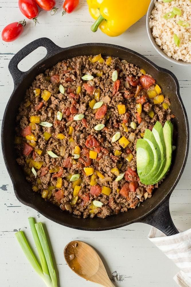 Mexican Ground Beef Skillet Gf Paleo Whole30 Hot Pan Kitchen Recipe Ground Beef Paleo Recipes Beef Recipes Easy Healthy Dinner Recipes