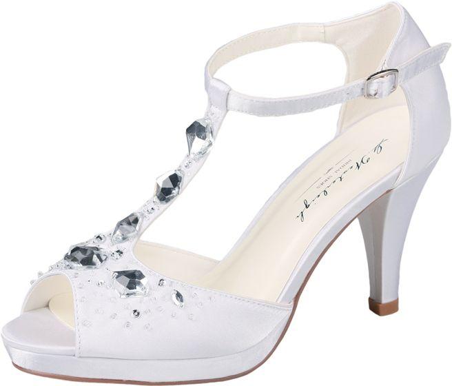 Peep-toe wedding sandals with rhinestones by G.Westerleigh