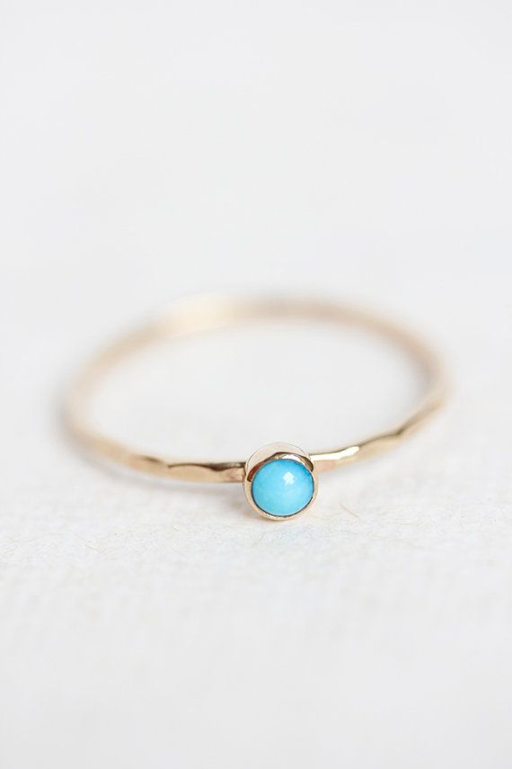Turquoise gold ring, stackable birthstone ring, 14k gold, thin stacking ring, december birthstone, turquoise gold ring, thin gold band