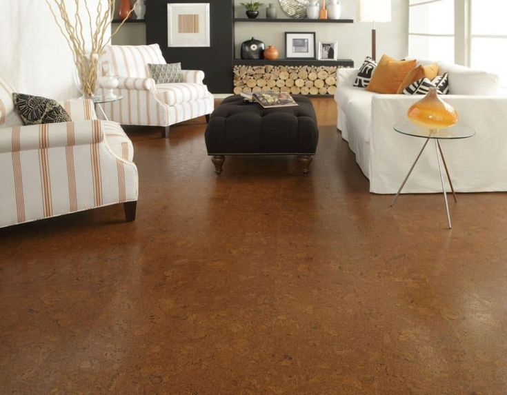 Living Room With Black Ottoman And Cork Flooring : Pros And Cons Of Cork Flooring