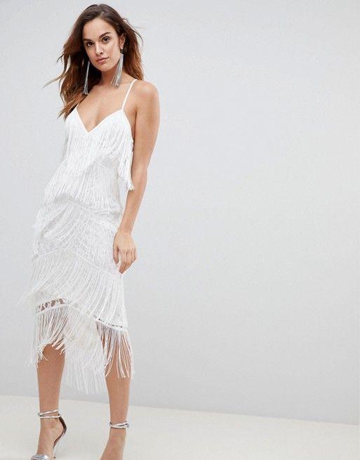 8a6efb0a53e0 White fringe midi dress - perfect bachelorette party dress