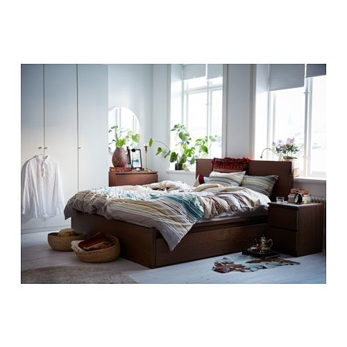 MALM Cadre de lit, haut, 2 rangements - 140x200 cm, - - IKEA