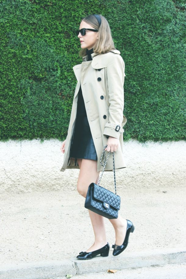 Burberry trench, Petit Bateau turtleneck, Topshop skirt, Ferragamo shoes, Chanel bag