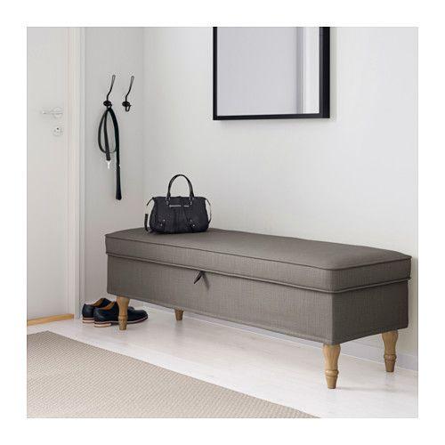 STOCKSUND Bench, Nolhaga gray-beige, light brown/wood Nolhaga gray-beige light brown