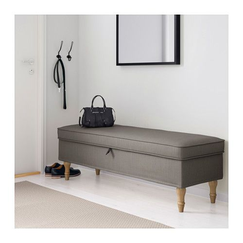 STOCKSUND Bench, Nolhaga gray-beige, light brown/wood Nolhaga gray-beige light brown