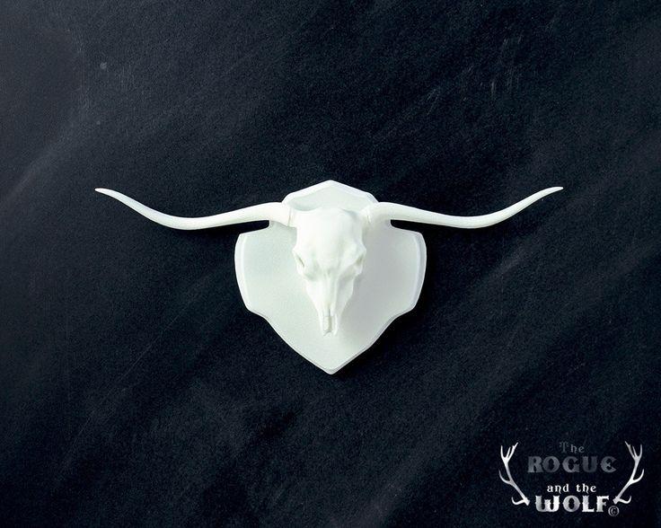 Long Horn Bull Faux Taxidermy, Bull skull, horns western home decor, mounted animal skull, long horn trophy, mini taxidermy, for the cowboy. via Etsy.