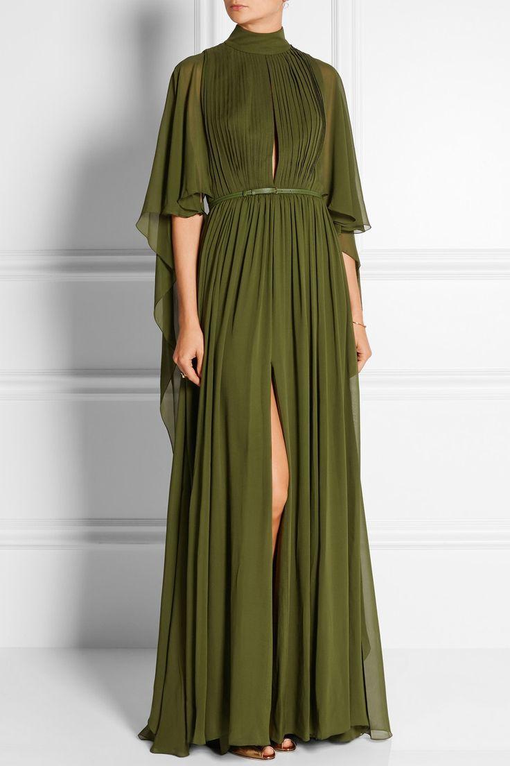 Elie Saab | Cape-effect silk-chiffon gown | NET-A-PORTER.COM