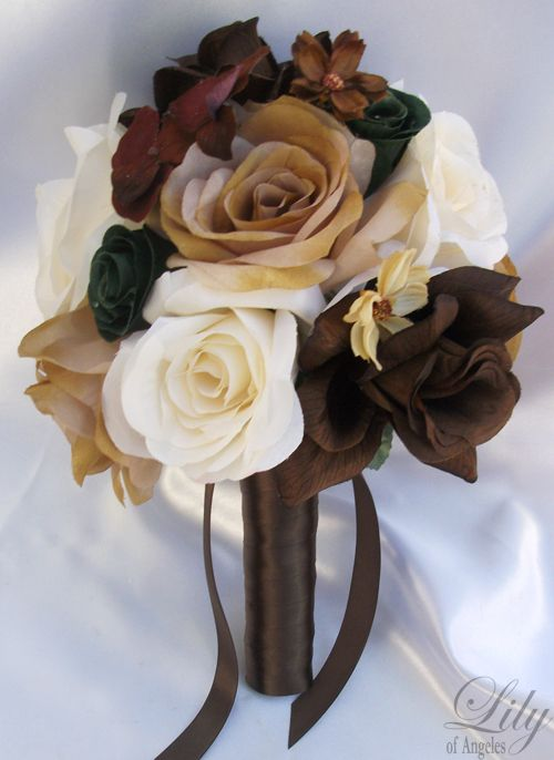 camouflage bouquet | 17pcs Wedding Bridal Bouquet Silk Flower CAMO Camouflage Bride IVORY