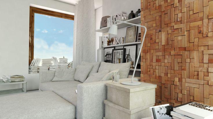 foorni.pl   DREWNIANY PANEL ŚCIENNY CUBE 2, drewniana ściana w salonie,  producent: Stegu