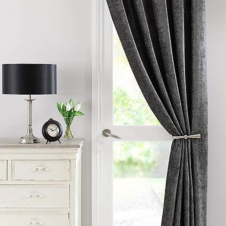 Chenille Grey Thermal Pencil Pleat Door Curtain | Dunelm