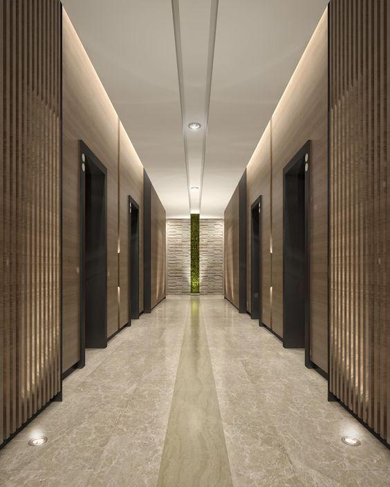 Wall Graze Strip Accent Uplight: Mimar Interiors Lift Lobby Lighting. Wall Graze. Corridor