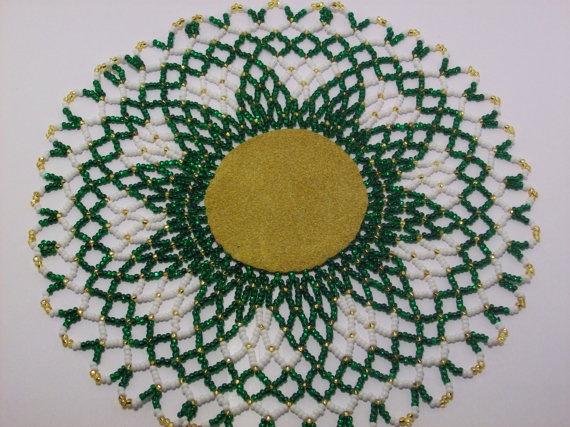 Green Star Burst Beaded Doily by twyladigangi on Etsy, $40.00