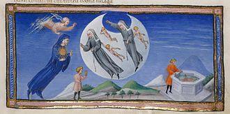 Dante Alighieri - La Divina Commedia. Paradiso. Dante in the sky of the moon.