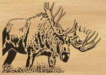 scroll saw pattern 051-moose (fretwork, wood, scrollsaw, handmade, artwork, wall art, silhouette, wildllife, elk, deer,  big horn, animal)