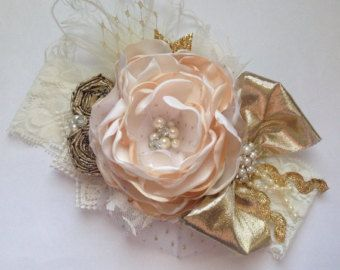 Ready to ship-Cream and gold rosette headband by ChloeRoseCouture
