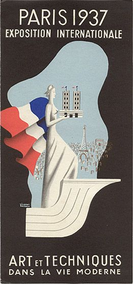 """Travel brochure for """"Paris 1937 Exposition Internationale - Art et Techniques Dans La Vie Moderne."""" Signed """"Villemot Bouissoud,"""" printed by """"Reboul & Fils, paris."""""""