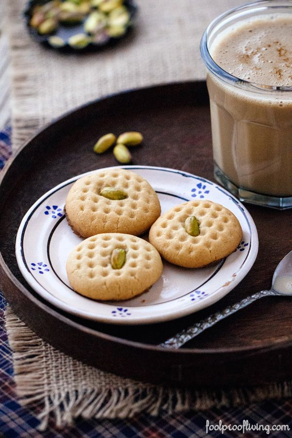 A cookie made with tahini and flavored with pistachios from Ottolenghi's cookbook Jerusalem.