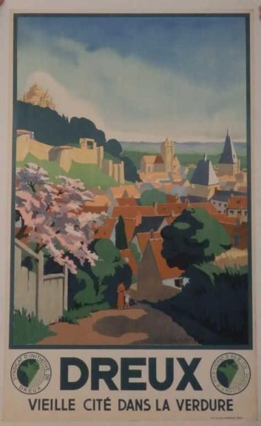 Vintage Railway Travel Poster -   Dreux - Vieille Cité dans la Verdure - France - by Suzanne Hulot .